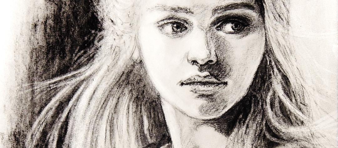 Kohle Portrait, Daenerys Targaryen von Games of Thrones, gespielt von Emilia Clarke