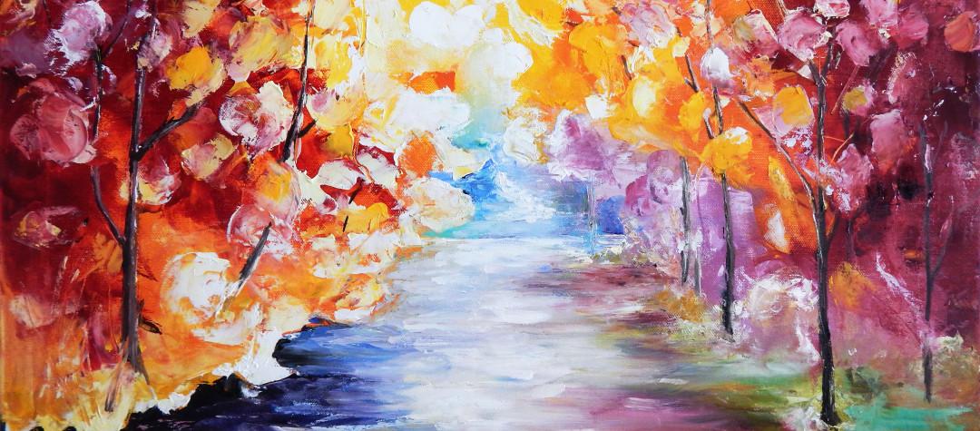 Ölmalerei, Ölgemälde, Landschaftsbild, abstrakte Kunst Landschaftsmalerei, Öl auf Leinwand