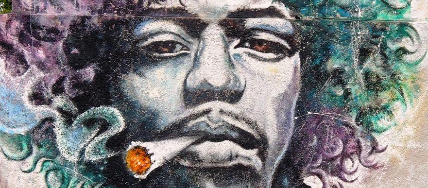 Fassadenkunst, Wandmalerei, Acrylmalerei, Jimi Hendrix, Wandmalerei an der Rockakademie Herford