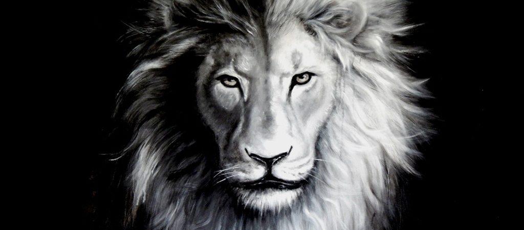 Öl, Portrait, Löwenportal, Löwen Portrai, Öl auf Leinwand