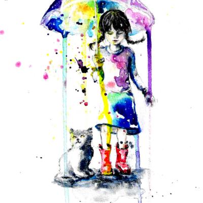 Mädchen mit Regenschirm und Kätzchen