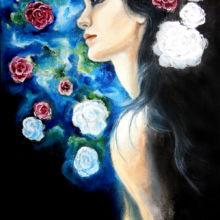 Ölportrait mit Blumen